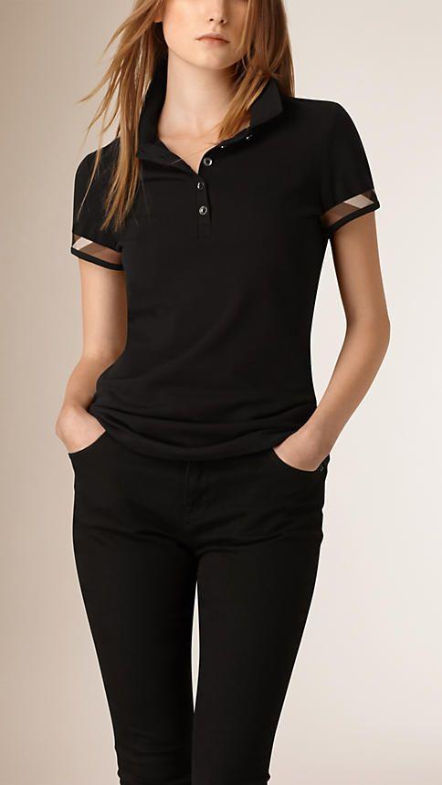 Black Check Detail Cotton Piqué Polo Shirt - Image 1