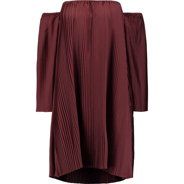 W118 by Walter Baker Yolanda off-the-shoulder plissé crepe mini dress ($120) ❤ liked on Polyvore featuring dresses, burgundy, burgundy mini dress, short red dress, slip on dress, off the shoulder mini dress and off shoulder mini dress
