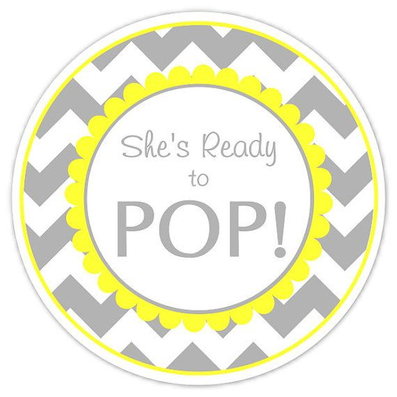 Baby Shower About to Pop labels, Gray Chevron and Yellow