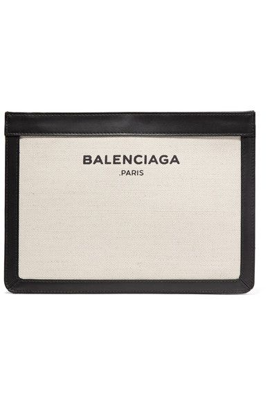 Balenciaga - Leather-trimmed Canvas Shoulder Bag - Cream - one size