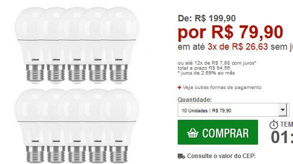 Kit com 10 Lâmpadas de Led Osram Classic A40 Bivolt 5.5W/830 E27 Amarela << R$ 7990 em 3 vezes >>