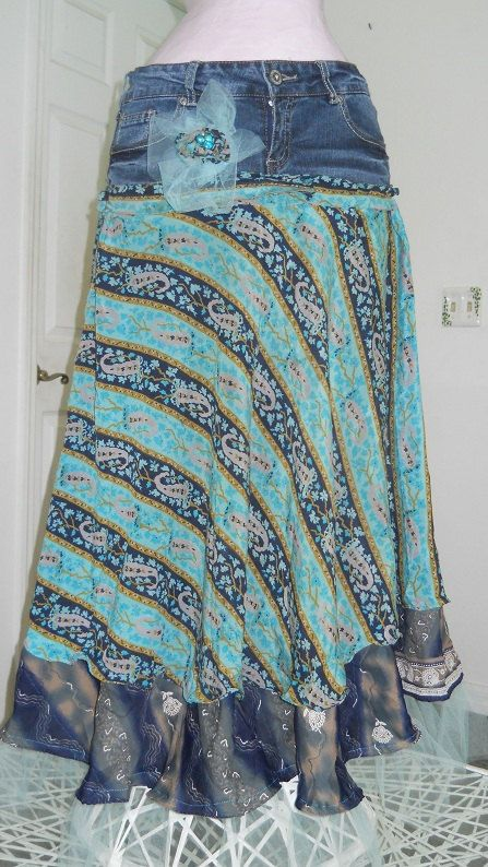 Minuit Turquoise jean skirt midnight blue by bohemienneivy on Etsy