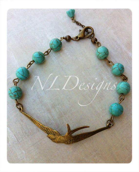 Flying Swallow Bracelet Turquoise Bracelet by nathalielynndesigns, $16.99Nathalielynndesign, Nathalie Lynn, Swallows Bracelets, Fly Swallows, Bracelets Turquoise, Lynn Design, Turquoise Bracelets, Handmade Jewelry