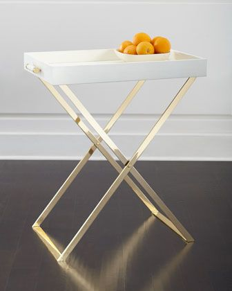 Cream+Shagreen+Butler+Tray+&+Stand+by+AERIN+at+Neiman+Marcus.