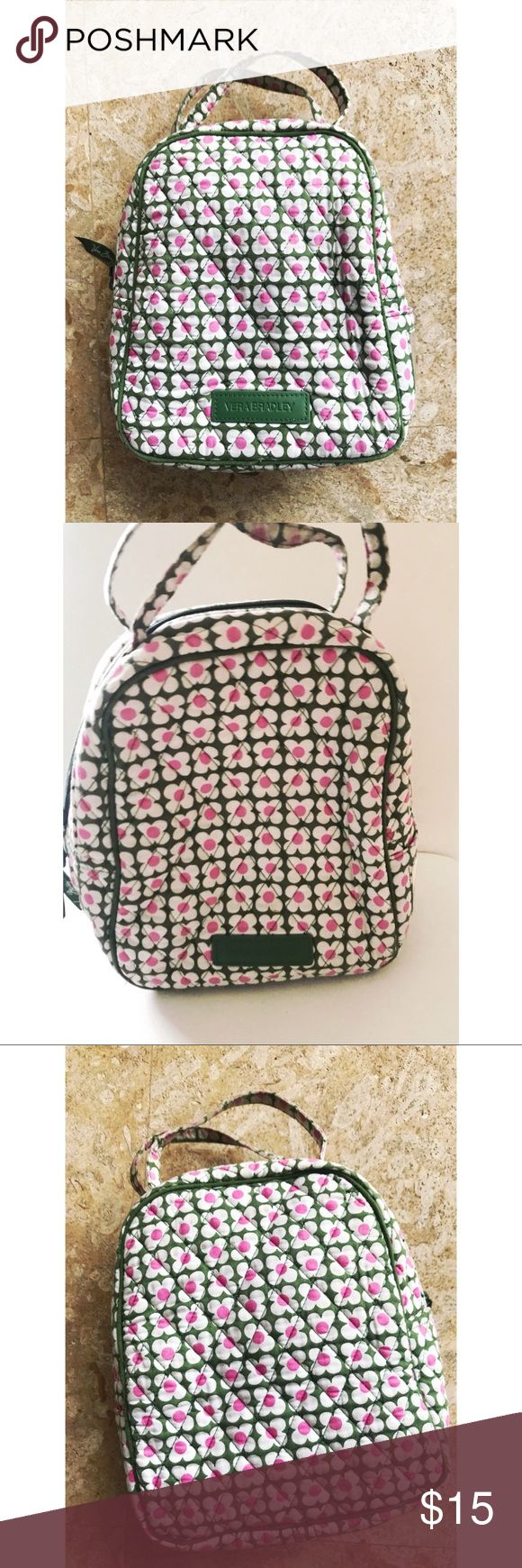 """Vera Bradley Lunch Bag Holds most pre-packaged frozen meals or Thermos. External ID window. Zip closure. Dimensions 7 ½"""" w x 9"""" h x 4 ¼"""" d with 3"""" handle drop Machine wash cold, gentle cycle, use only non-chlorine bleach as needed; line dry Good Condition Vera Bradley Bags"""