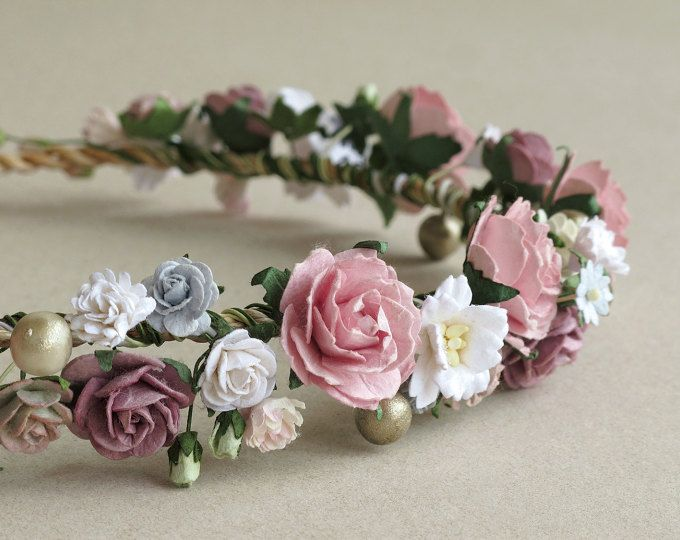 De edad rosa y malva flores corona - diadema de flores de papel - hechas de papel de morera y guita natural
