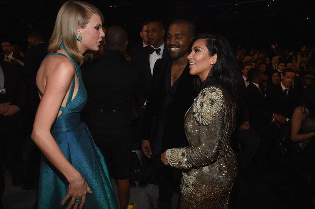 Then they had a good girlie gossip while Kanye smiled. | Taylor Swift And Kim Kardashian Are New Award Shows BFFs