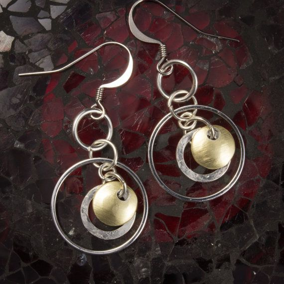 Hammered silver and gold floating disc earrings  991065ESPG