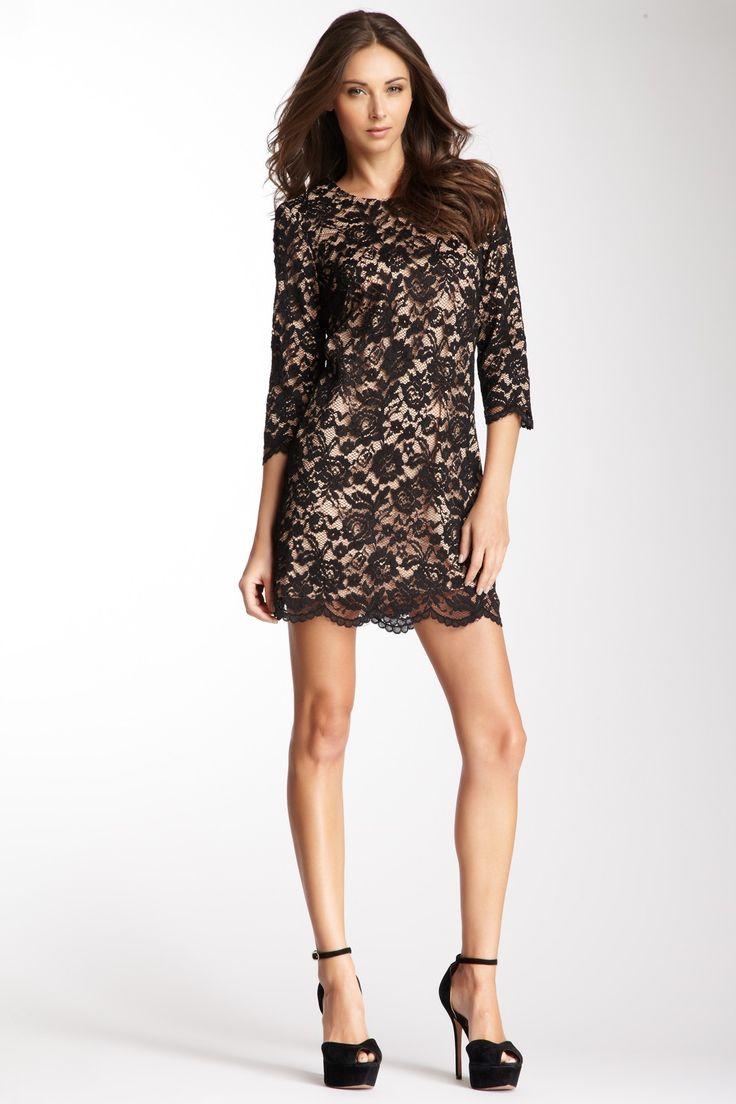 3/4 Length Sleeve Lace Shift Dress