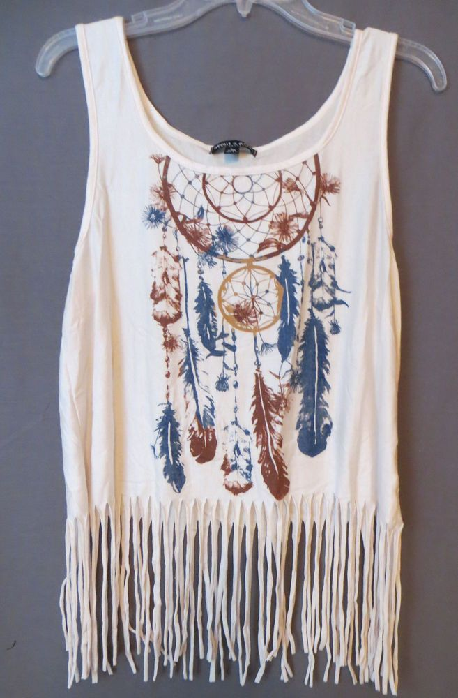 COWGIRL gYPSY dREAM cATCHER FEATHER AZTEC TRIBAL FRINGE Tank Shirt Western XL #ABOUTAGIRL #TANK