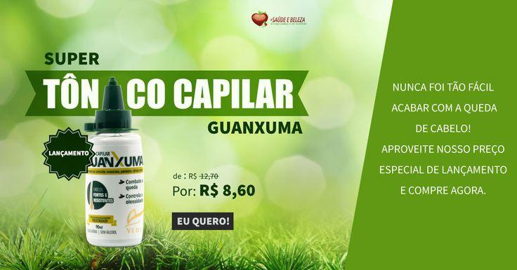 Super Lançamento Tonico Capilar Guanxuma!  Acabar com a queda de cabelo nunca foi tão fácil.  Corra, venha conferir!  http://www.maissaudeebeleza.com.br/tonico-capilar-guanxuma-90ml-vedis?utm_source=pinterest&utm_medium=link&utm_campaign=Tonico+Capilar+Guanxuma&utm_content=post