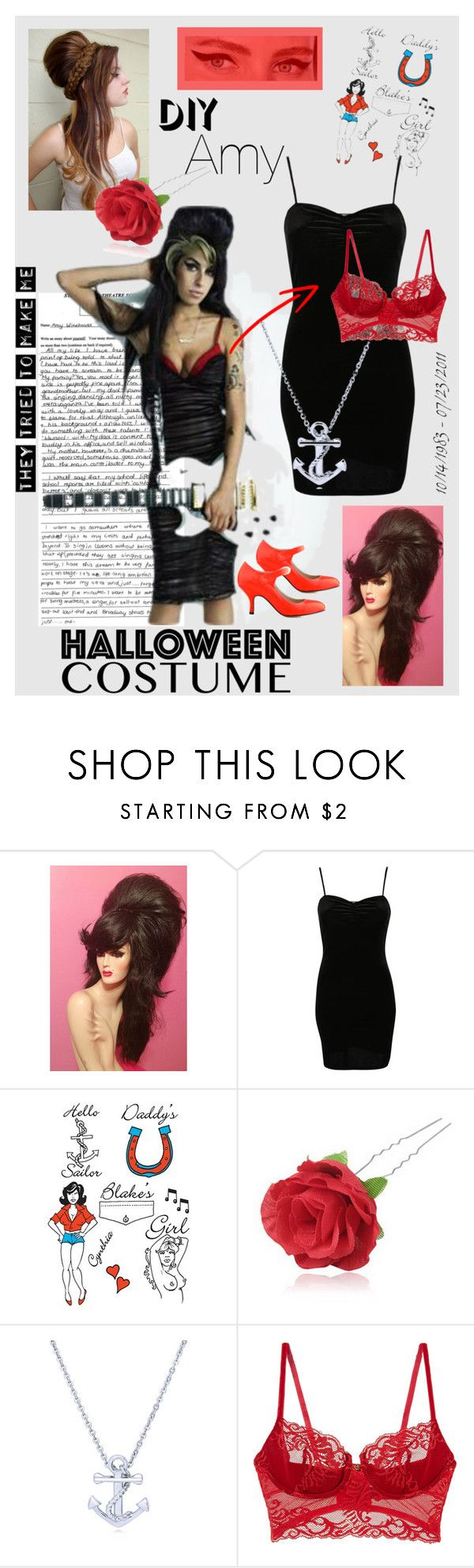 """""""DIY Amy Winehouse Halloween Costume"""" by cinthiasoto ❤ liked on Polyvore featuring Amy Winehouse, Pilot, Chicnova Fashion and BERRICLE"""