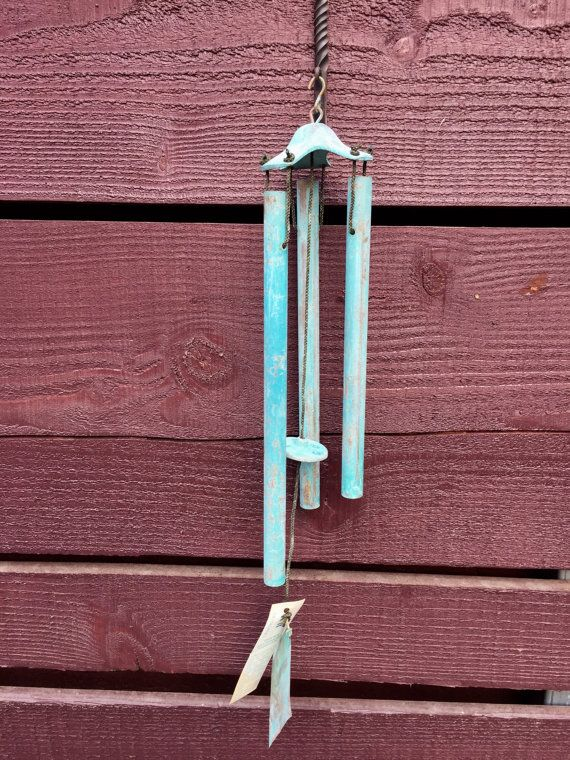 Vintage MCM Solid Brass Patina'd Wind Chimes in the manner of Walter Lamb