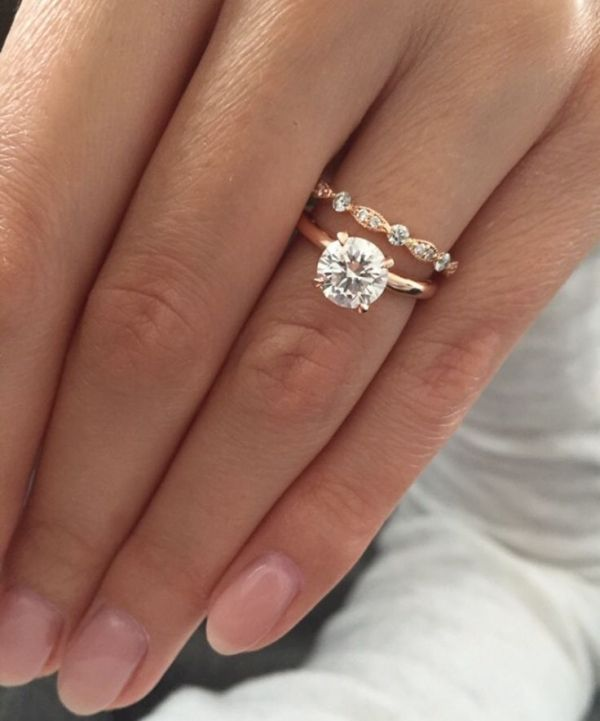 Rose gold solitaire engagement ring with Art Deco wedding band ♥ by gabriel