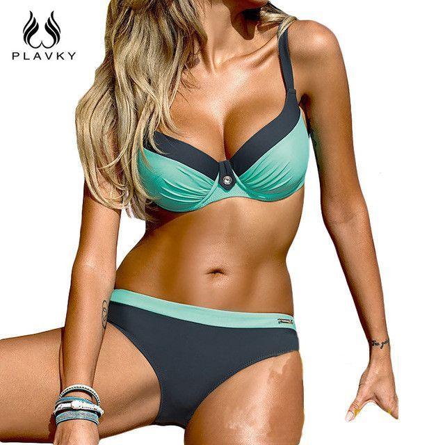 Retro Sexy Patchwork Bikini Swim Beach Wear Bathing Suit Swimsuit Swimwear Women Super Push Up Bikini Set