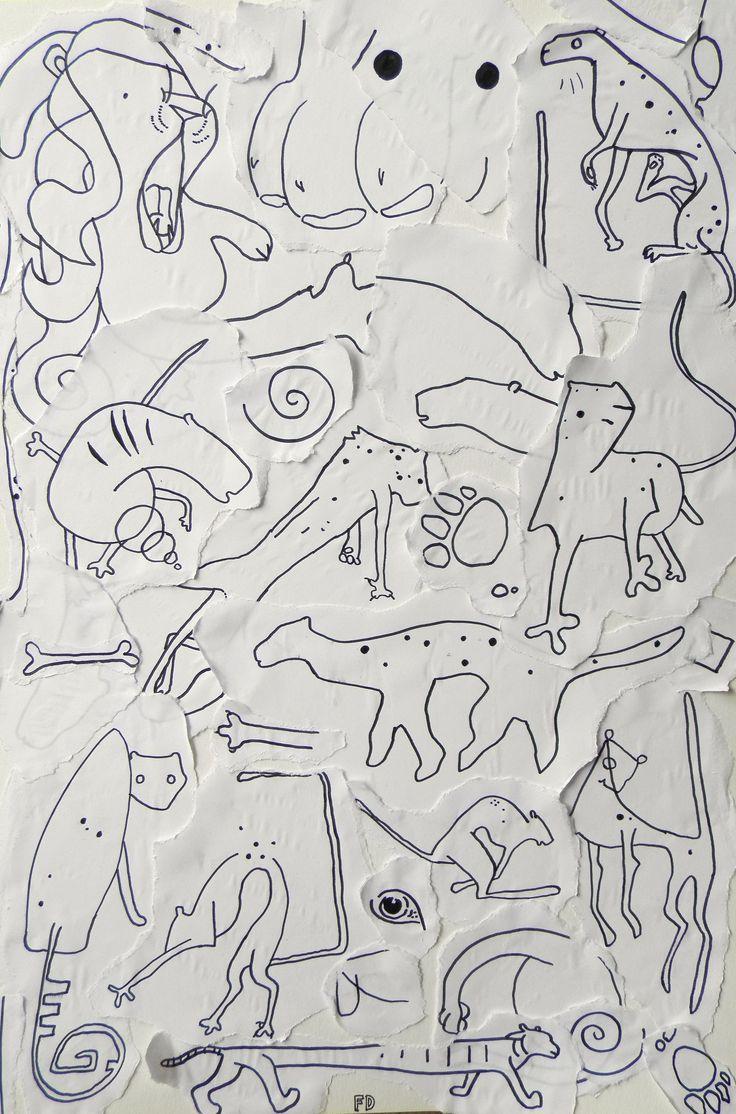 Big cats / drawing design wild animal animals shape /