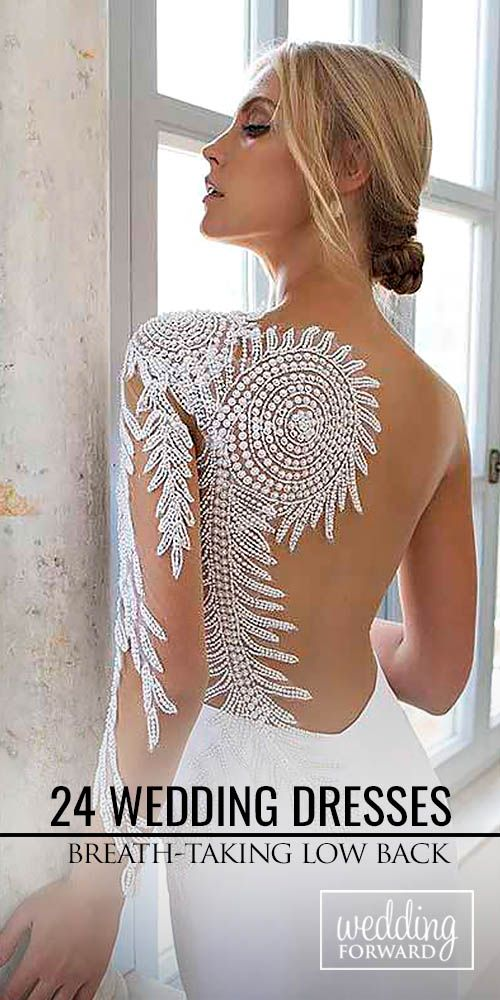 24 Breath-Taking Low Back Wedding Dresses ❤ Low back wedding dresses are very practical. See more: http://www.weddingforward.com/low-back-wedding-dresses/ #weddings #dress