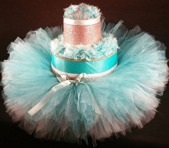 2 Tier Teal White Amp Gold Diaper Cake W Princess By