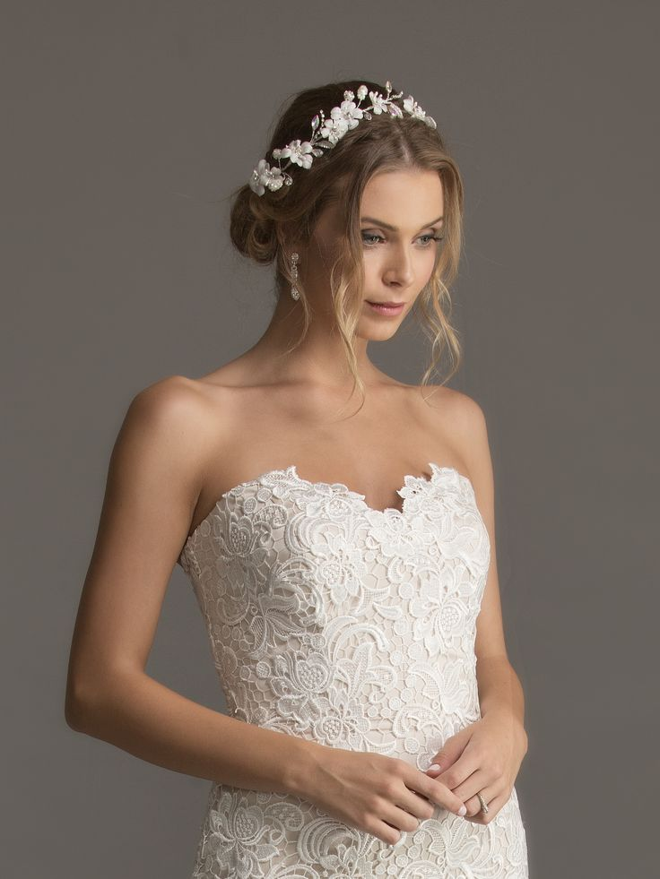 Diamante Floral Crown (found at Caleche) with Veronique Boutique Earrings and Caleche 'Jane' Wedding Gown.