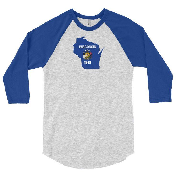Wisconsin Flag 3/4 Sleeve Raglan Shirt