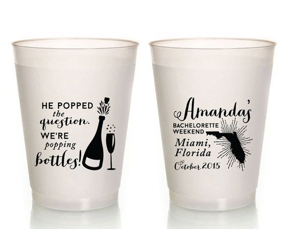 Bachelorette Party Cups He Popped The Question Cups Champagne Bachelorette Cup Gifts and Mementos Miami Bachelorette Bachelorette 1300 by SipHipHooray