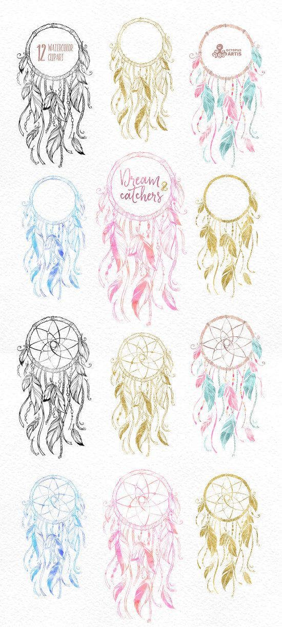 Dreamcatchers 2. Aquarell-Clipart. Stammes Federn von OctopusArtis