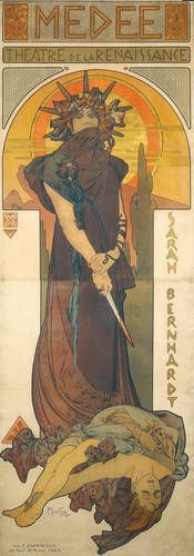 """This painting was also done by Alphonse Mucha and is titled """"Medea."""" He created these pieces for Persian theaters and as advertisement."""