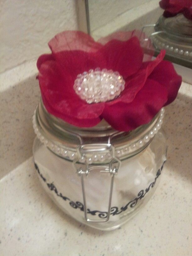 cotton ball and Q Tip holder made from home. products from Dollar Tree Inn Hobby Lobby