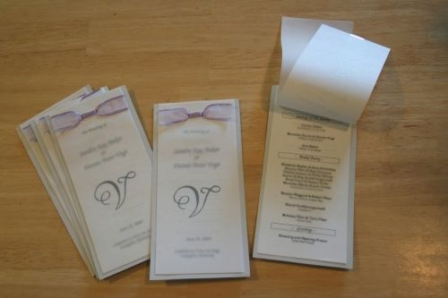 homemade wedding programs | Modern Wedding Invitations: wedding program with transparency paper