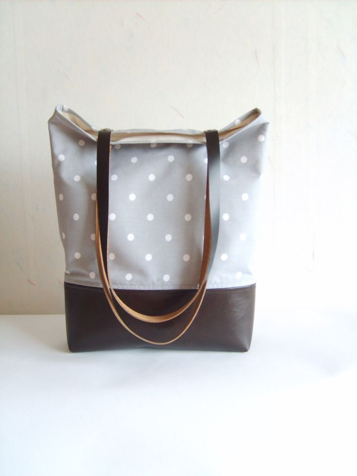 Polka dot tote bag, leather and canvas tote, grey tote bag, real leather handles, real leather strap by allbyFEDI on Etsy https://www.etsy.com/listing/193668624/polka-dot-tote-bag-leather-and-canvas