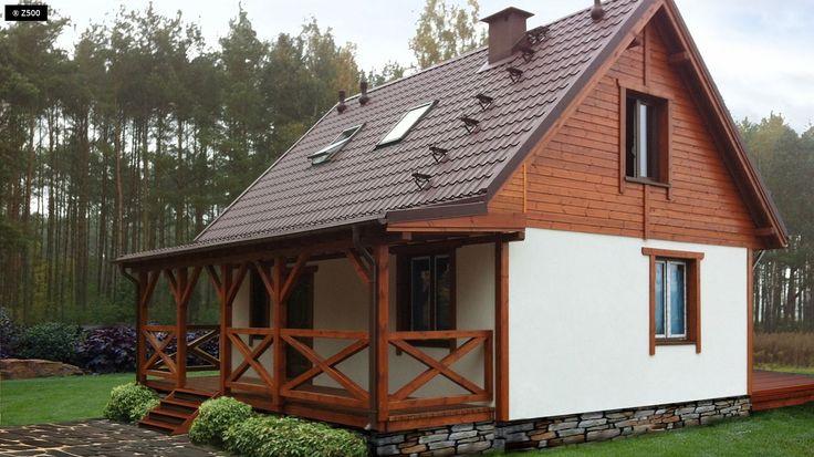 Projekt domu Z39 Mały, przytulny dom z poddaszem, werandą od frontu, przekryty…