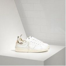 Golden Goose Pas Cher - Golden Goose Sneakers Starter In Blanche Calf Leather And Or Homme Soldes