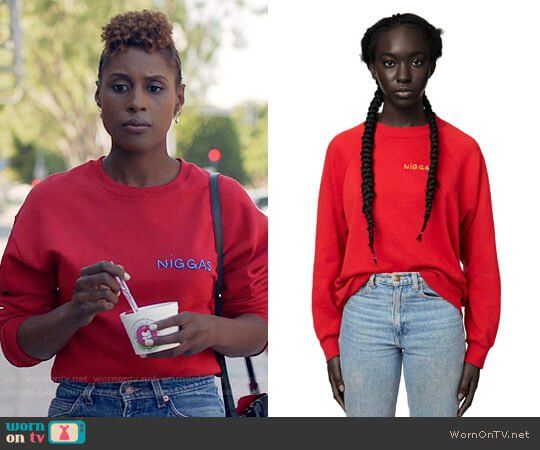 Issa's red sweatshirt on Insecure.  Outfit Details: https://wornontv.net/78128/ #Insecure