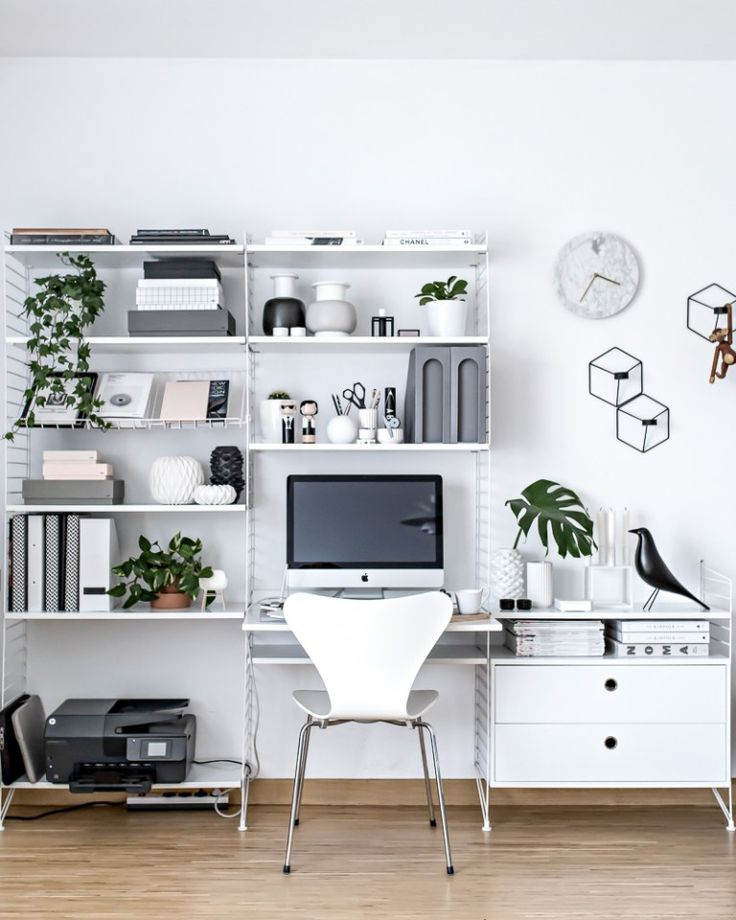 White workspace home office with String bookcase and mid century accents
