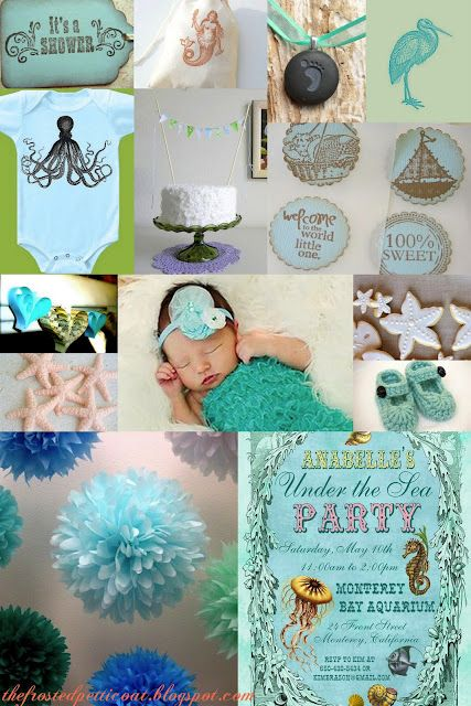 ocean baby shower teal blue mint sea beach theme victorian vintage mermaid - love the colors and the pom poms