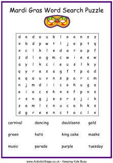 Mardi Gras word search puzzle (this same page has a mask counting printable game for even younger kids)
