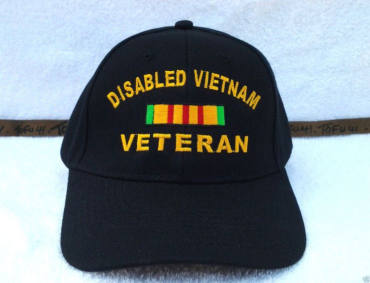 DISABLED VIETNAM VETERAN (BLACK) Military Veteran Hat 44 VV #BaseballCap
