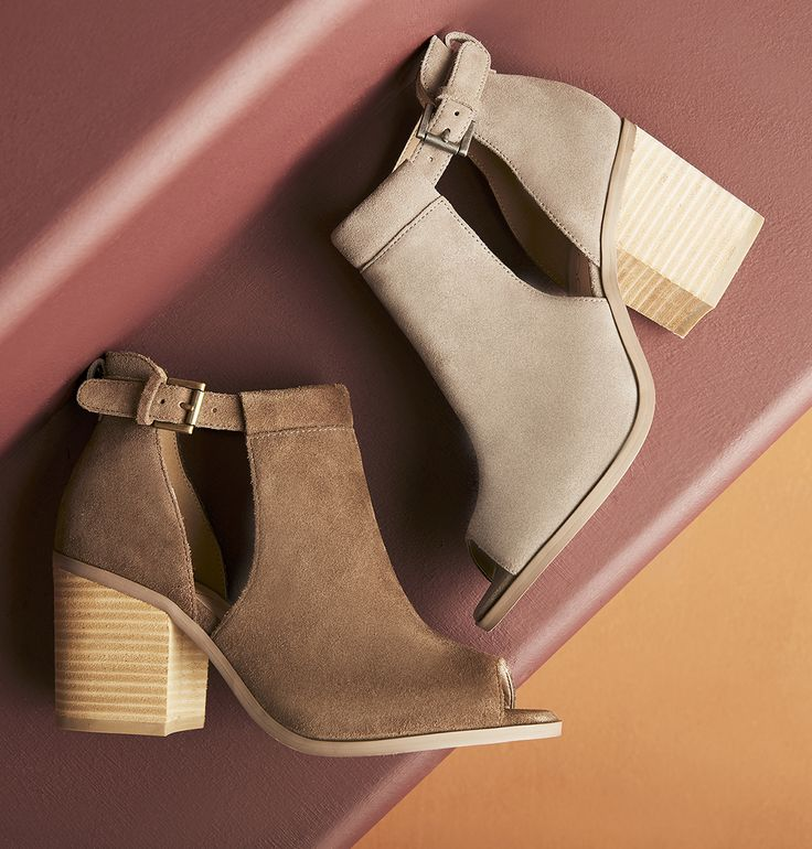 Cutout suede booties with comfortable block heels, perfect for the summer to fall transition! Style these with dresses, skirts, shorts, jeans and more. | Sole Society Ferris