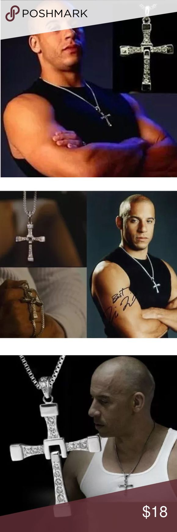 """❤️👨🏻THE FAST & THE FURIOUS VIN DIESEL REPLIC NEW ❤️As worn by actor Vin Diesel in **The Fast and The Furious** #1 Action movie. This Beautiful and Intricate Masculine Snake Chain and Cross is in Silver with sparkling Austrian Crystals. Bottom of Cross Swivels with total measures of 2 1/2"""" Cross w/ 19""""Long Snake Chain NEW!! Jewelry Necklaces"""