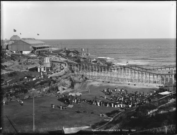 View of Bondi Aquarium, later Wonderland City, 1891 or after. Attractions included an artificial lake, a roller-skating rink, double-decker merry-go-round, Haunted House, Helter Skelter, a switchback railway, a maze, fun factory, miniature railway, wax works, Katzenjammer Castle, Hall of Laughter, Box Ball Alley, a boxing tent, seal pond, circus ring, movie house, penny parlour, Japanese tearooms and Swiss Chalet.