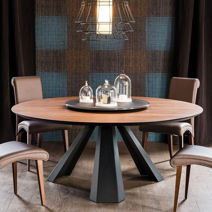 table manger ronde eliot en bois massif et m tal gris anthracite chaises en cuir marron et. Black Bedroom Furniture Sets. Home Design Ideas