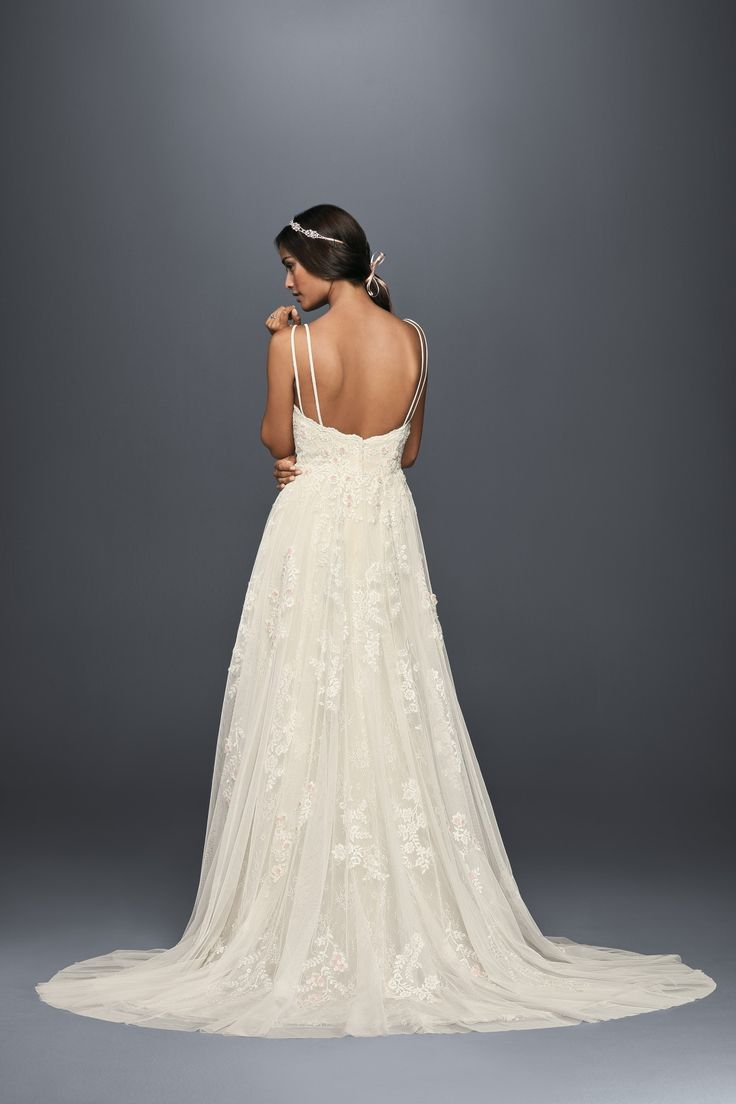 Elegantly airy, this gown is for the boho bride. Spaghetti Strap Illusion V-Neck Scalloped A-line Wedding Dress by Melissa Sweet available at David's Bridal