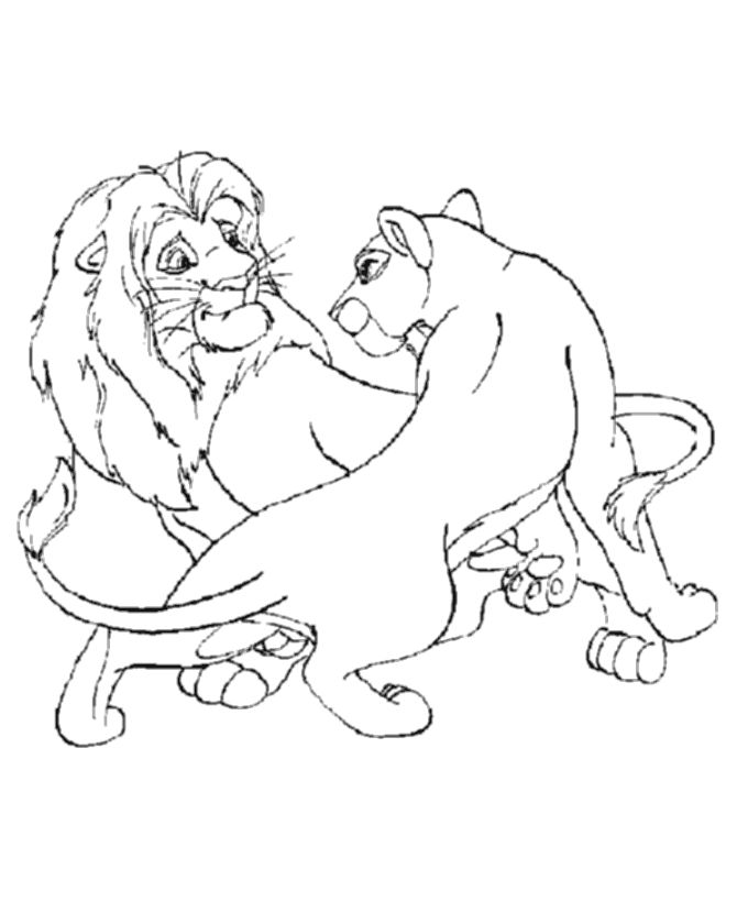 Male And Female Lions Coloring Page