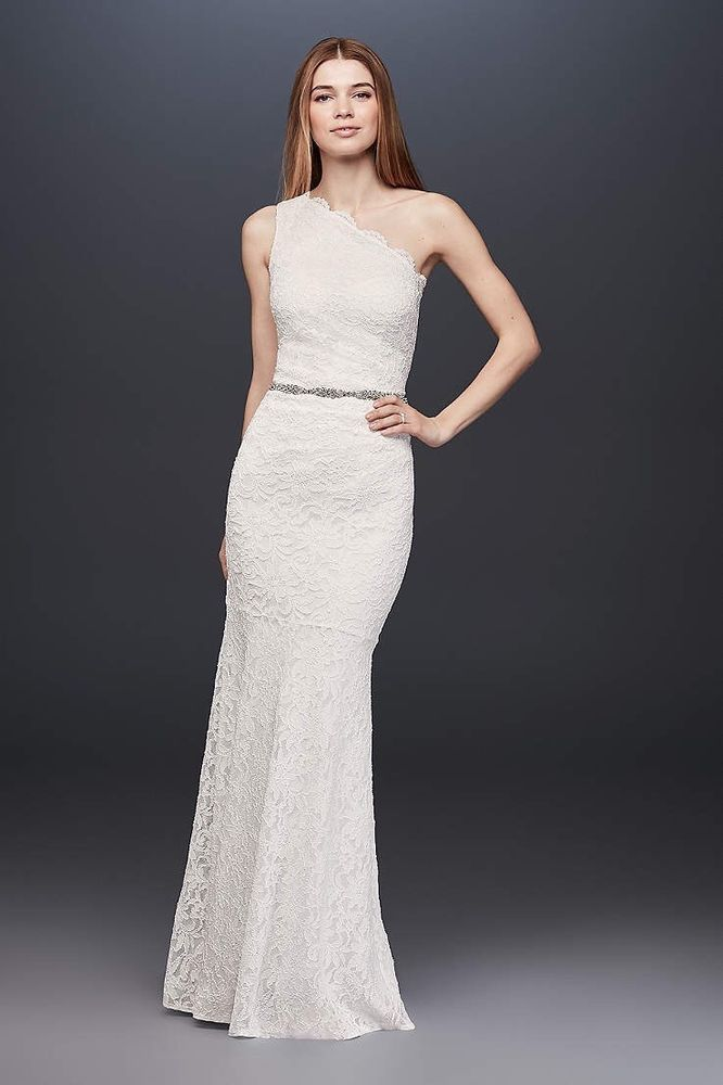 Db Studio Scalloped One Shoulder Lace Sheath Gown 183668db