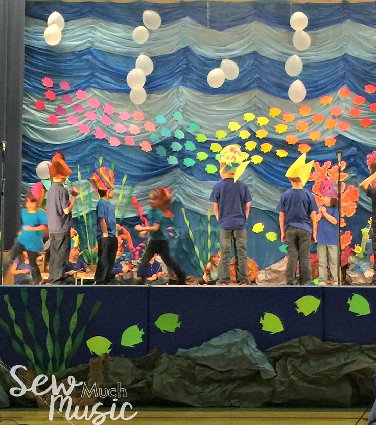 Ocean music program, under the sea decorations, coral, pool noodles, stage decorations, charlie over the ocean