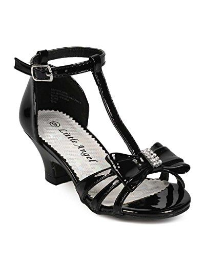 c1404643f Little Angel EG78 Patent Open Toe Bow T-Strap Kiddie Heel Sandal (Toddler Little  Girl  Big Girl) - Black