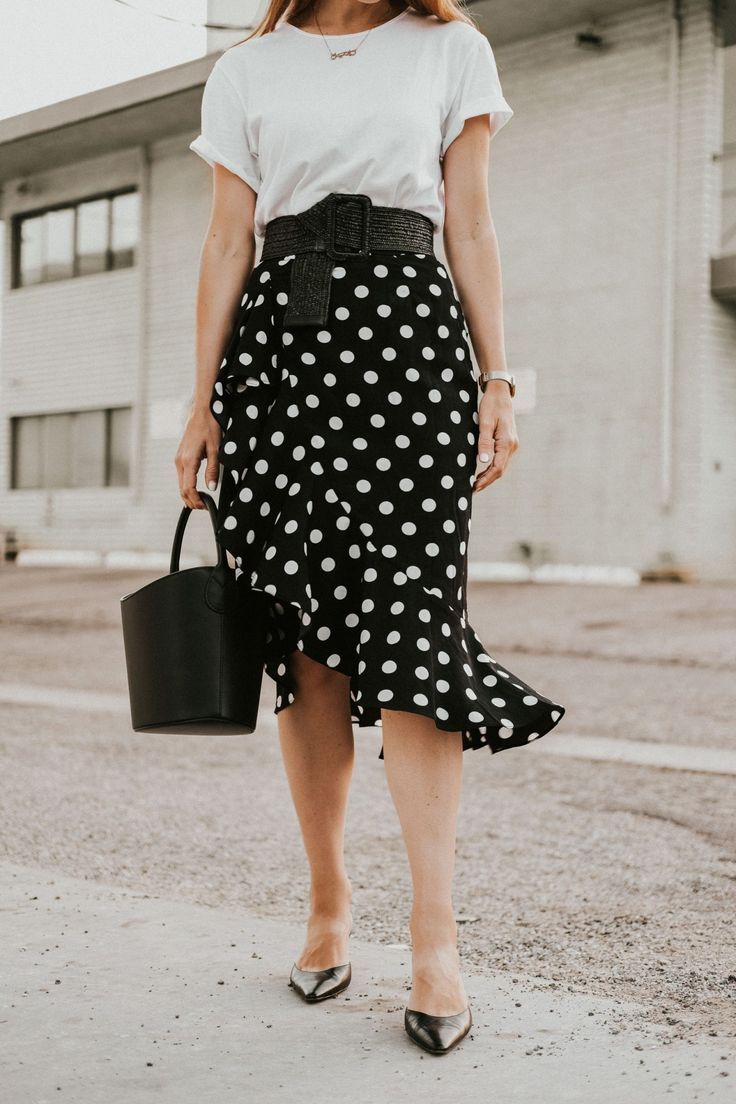 eafc018c Black Polka Dot Midi Skirt: How To Style || How To Wear A Polka Dot Midi  skirt || Black Polka Dot Midi Skirt || Danielle Hastings | ღ Awesome  fashion ...