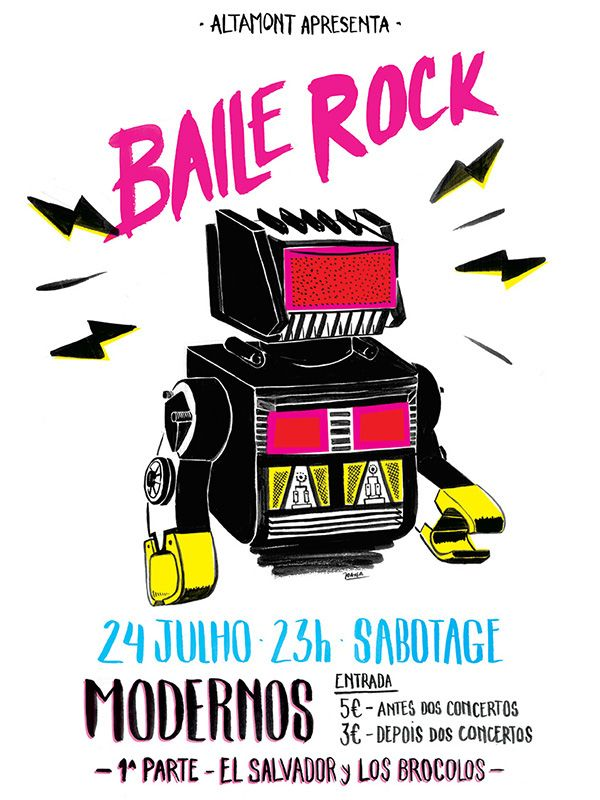 New poster for Baile Rock Altamont - Julho 2015.  Mixed Media – Drawing Ink + Adobe Photoshop 42cm * 29,7cm. Joana Ray 2015 #illustration