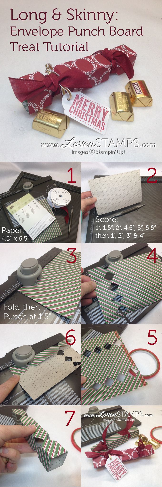 Envelope Punch Board Tutorial - Make Your Own Long, Skinny Treat Boxes! Project by LovenStamps                                                                                                                                                                                 Más