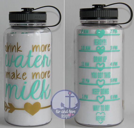 Drink more water make more milk  water bottle by LivAndLoveDesigns